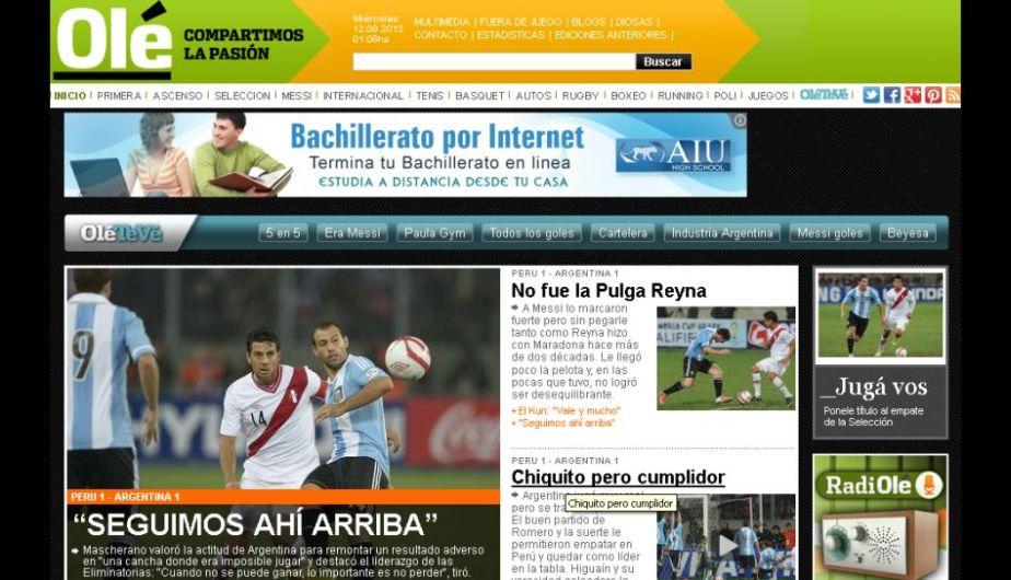 Olé destacó que Argentina sigue primero a pesar del poco juego mostrado. (Olé.com)