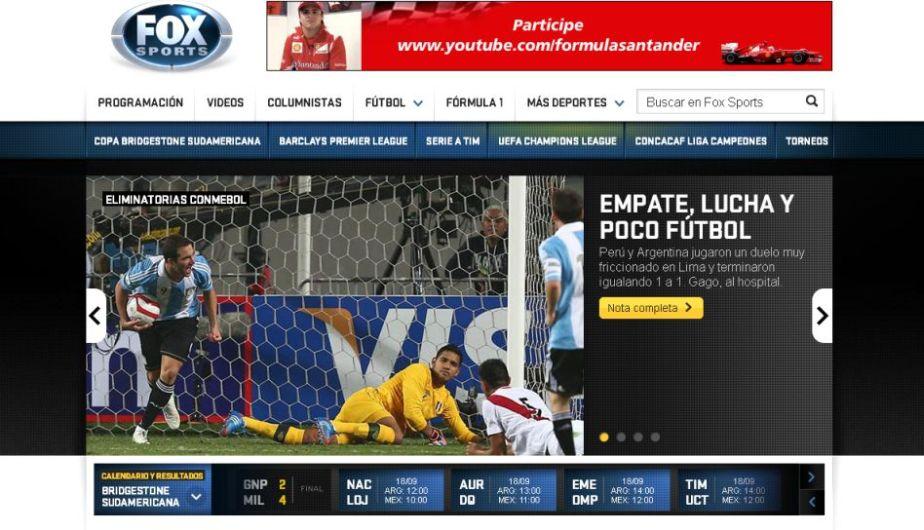 Fox Sports comentó que Argentina tuvo poco fútbol pero marcó en el momento justo. (Fox Sports)