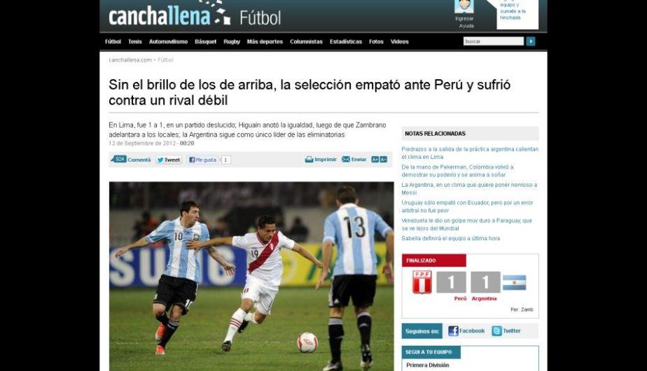 La Nación señaló que el ataque de Argentina no apareció. (Canchallena)