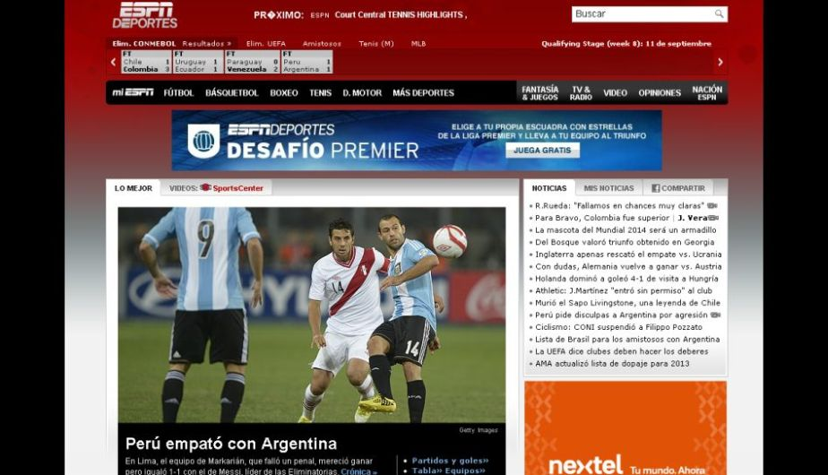 ESPN mencionó que Perú debió ganar el partido. (ESPN)