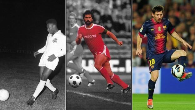 Messi debutó en el Barcelona, Pelé en Santos y Muller en Bayern. (USI)
