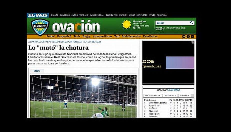 """""""El mayor adversario para Nacional fue la altura"""". Los charrúas creen que la clasificación se perdió en Cusco. (Ovación.com.uy)"""