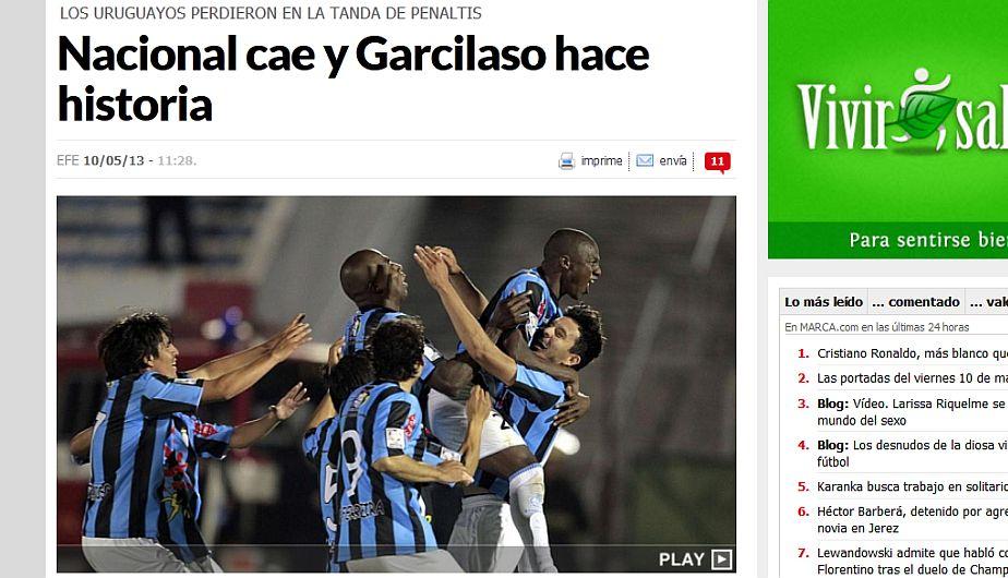 Marca asegura que Garcilaso fue más en la tanda de penales. (Marca.com)